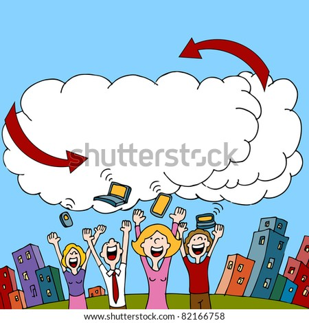 An image of a people sharing information via a wireless cloud computing network. - stock photo