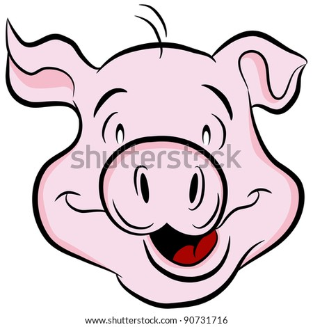 An image of a pig head. - stock photo