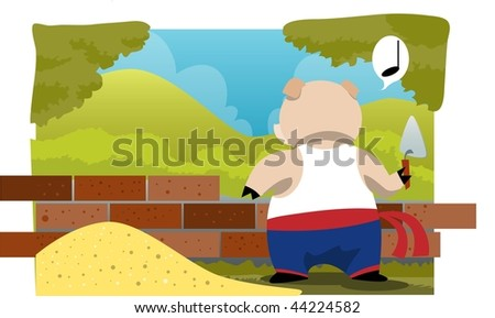 An image of a pig whistling and constructing a brick house - stock photo