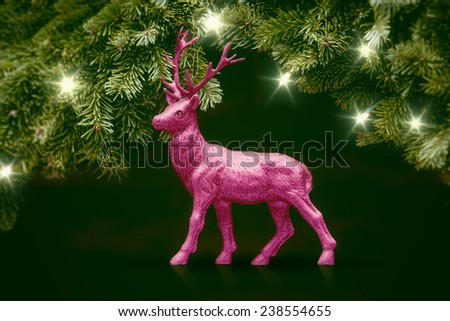 An image of a pink deer christmas decoration - stock photo