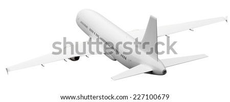 An image of a plane rear view isolated on white - stock photo
