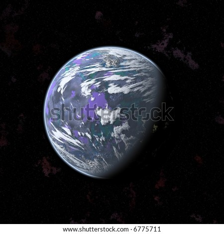 an image of a purple planet in the space