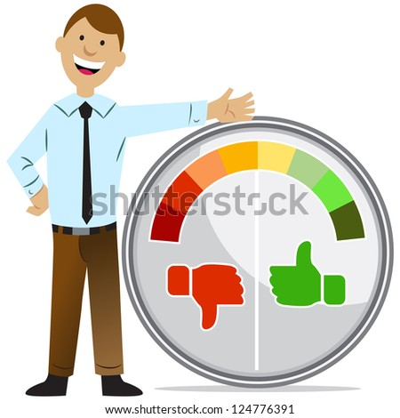 An image of a rating meter man. - stock photo