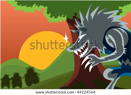 An image of a ravenous wolf hiding behind a tree and furtively watching the three little pigs - stock photo