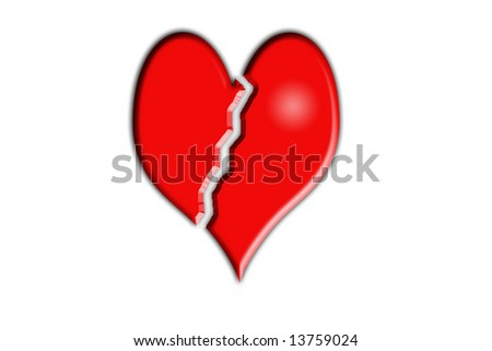 An image of a red broken heart. - stock photo