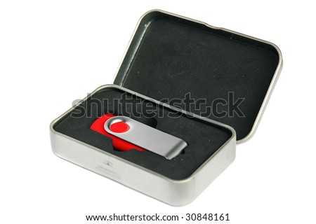 An image of a red pendrive in a teen box over white background