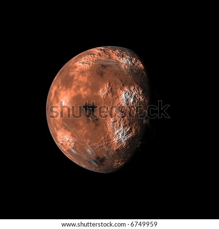 an image of a red planet in the space
