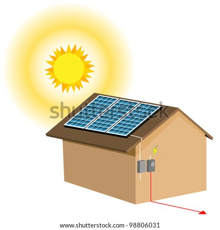 An image of a residential solar panel system. - stock photo