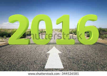 An image of a road to the horizon with 3d text 2016