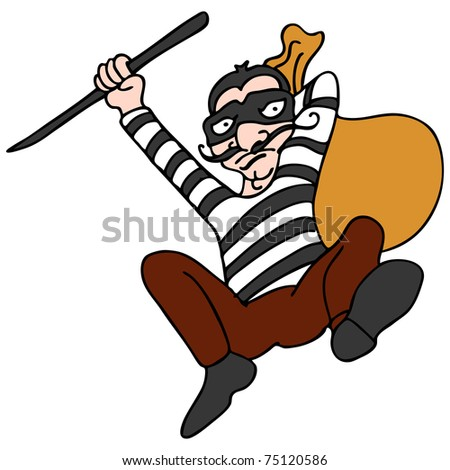 An image of a robber escaping with a bag of stolen property. - stock photo