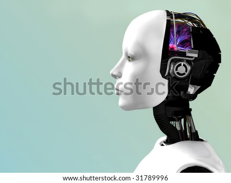 An image of a robot woman head in profile.