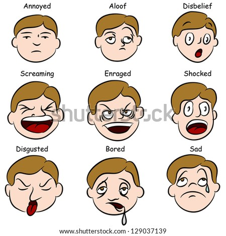 An image of a set of facial expressions. - stock photo