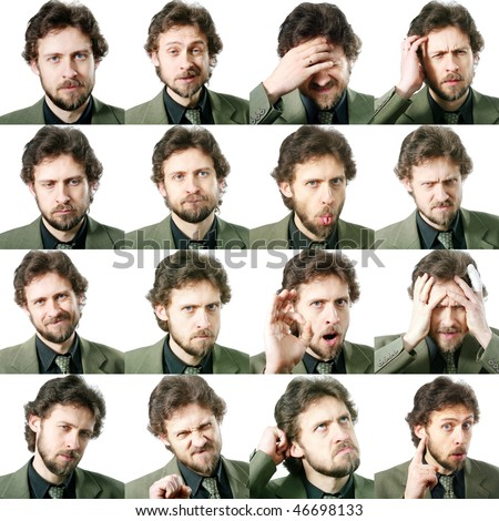 An image of a set of facial expressions - stock photo