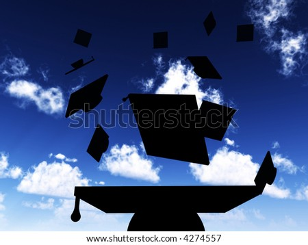 An image of a set of mortar boards being thrown in the air during gradation day. - stock photo