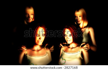 An image of a set of mothers and daughters, this image would be suitable for Mothers Day concepts.