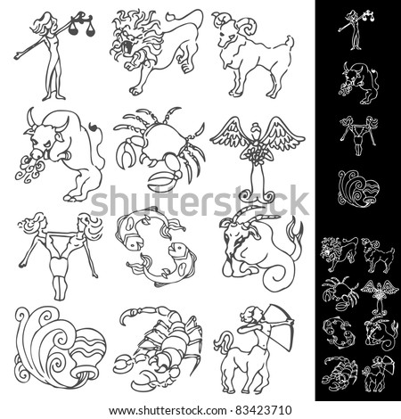 An image of a set of zodiac drawings.