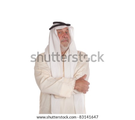 An image of a sheik.  He is and older man and has a cover on his head.  Image is isoalted on white. - stock photo