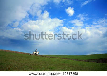 An image of a shepherd with a horse
