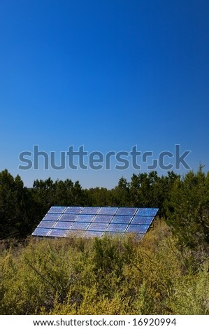 An image of a solar panel in lush foliage - stock photo