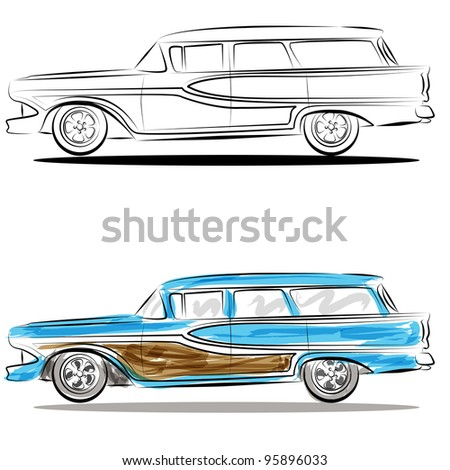image station wagon watercolor line art stock illustration 95896033 rh shutterstock com Station Wagon Roof Rack Clip Art Station Wagon Roof Rack Clip Art