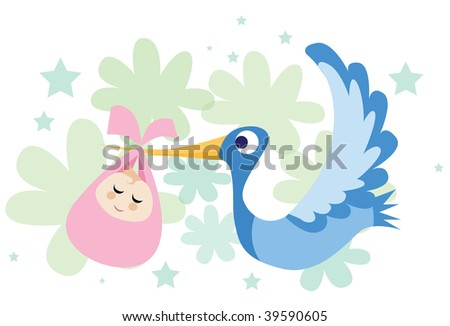 An image of a stork flying and carrying a baby girl in its beak - stock photo