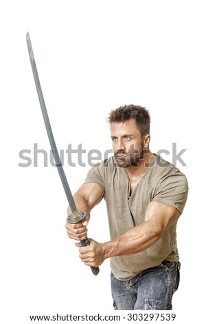 An image of a strong man with a sword