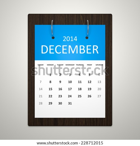 An image of a stylish calendar for event planning December 2014 - stock photo