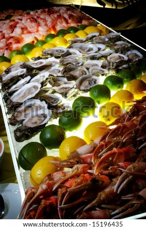 An image of a succulent fresh seafood buffet - stock photo