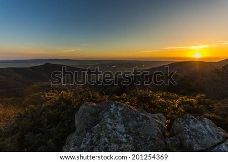 An image of a sunset in Tuscany landscape in Italy. - stock photo