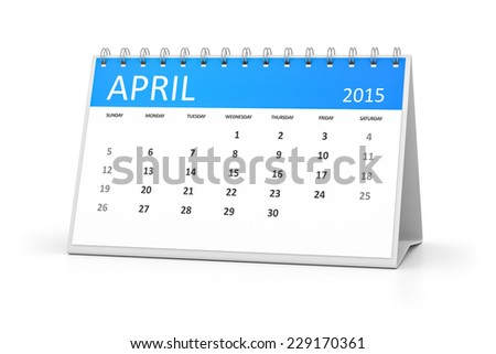 An image of a table calendar for your events April 2015