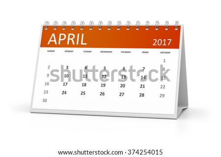 An image of a table calendar for your events 2017 april - stock photo