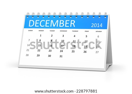 An image of a table calendar for your events December 2014 - stock photo