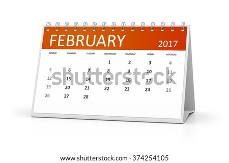 An image of a table calendar for your events 2017 february - stock photo