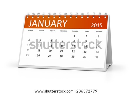An image of a table calendar for your events January 2015 - stock photo