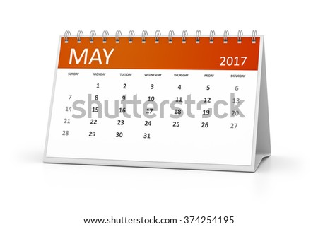 An image of a table calendar for your events 2017 may - stock photo
