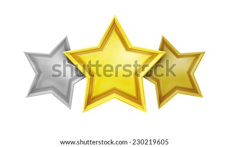 An image of a three star rating service - stock photo