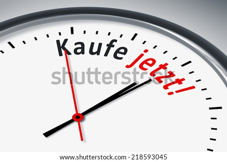 An image of a typical clock with text buy now in german language