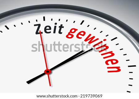 An image of a typical clock with text gain time in german language
