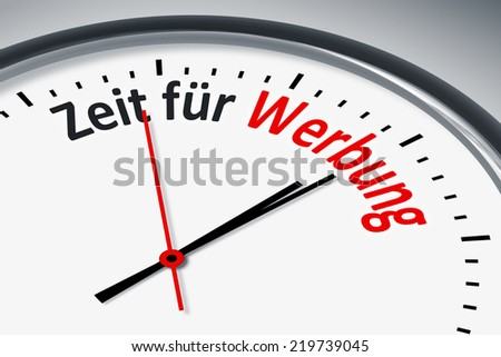 An image of a typical clock with text time for advertising in german language