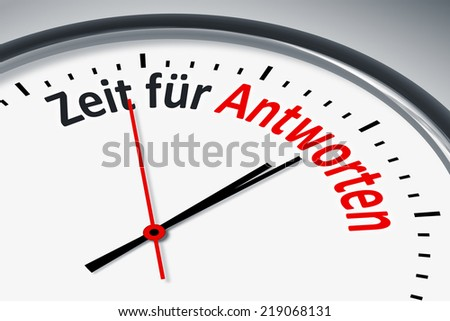 An image of a typical clock with text time for answers in german language
