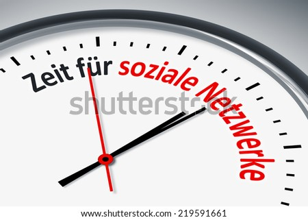 An image of a typical clock with text time for social network in german language