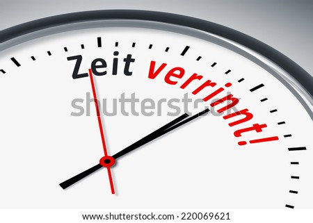 An image of a typical clock with text time is running out in german language