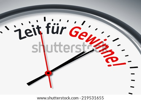 An image of a typical clock with text time to win in german language