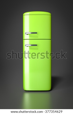 An image of a typical green refrigerator - stock photo