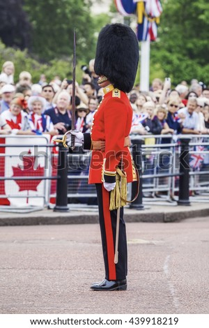 An image of a typical guard in London - stock photo