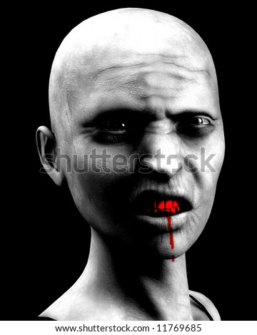 An image of a very bald zombie women. It would be a good image for Halloween concepts.