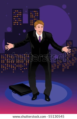 An image of a very happy businessman who is surprise about his potential success. - stock photo
