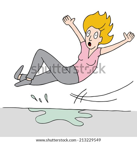 An image of a woman who slips on a wet floor. - stock photo