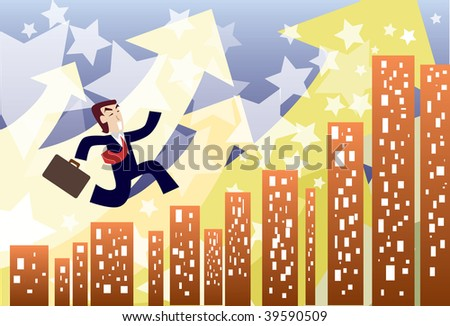An image of a young businessman making his way to the top - stock photo