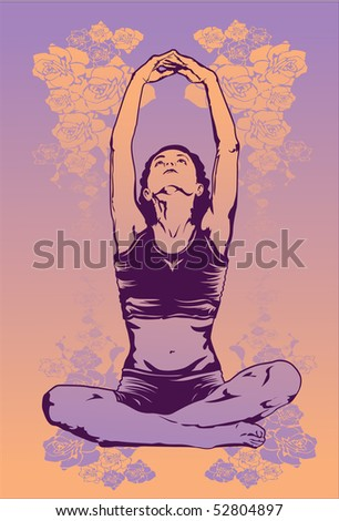An image of a young lady sitting on the floor and doing a few stretches from yoga - stock photo